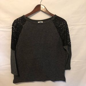Old Navy Small Petite Lace Grey Top